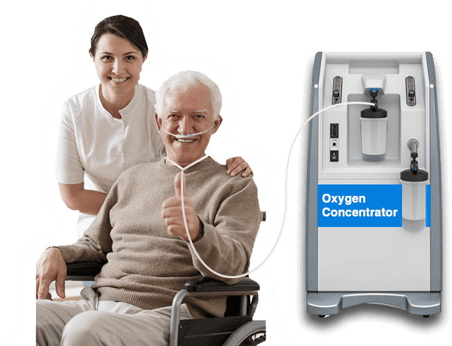 An old man on a wheelchair using the oxygen concentrator